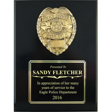 Large Black Gloss Police Plaque